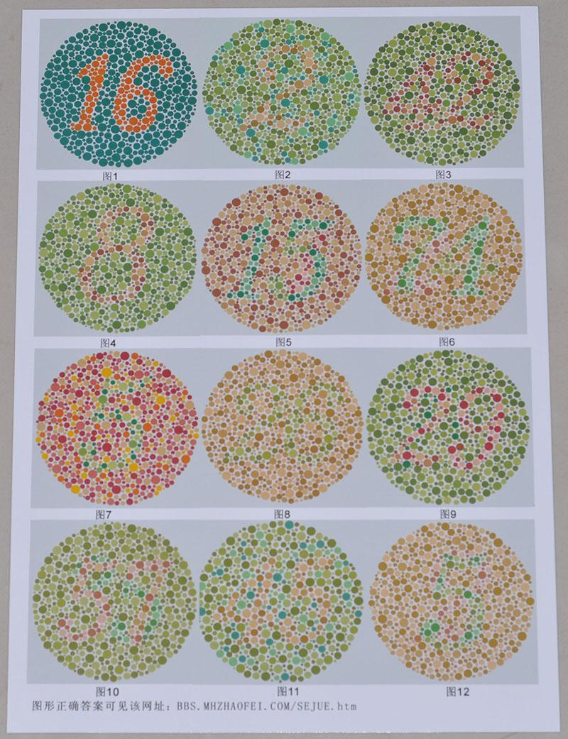 2012年 - 研发第一版仿制的(纸质)色觉检查图